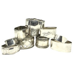 Silver Antique Napkin Rings, a Mixed Set of Ten, Various Makers