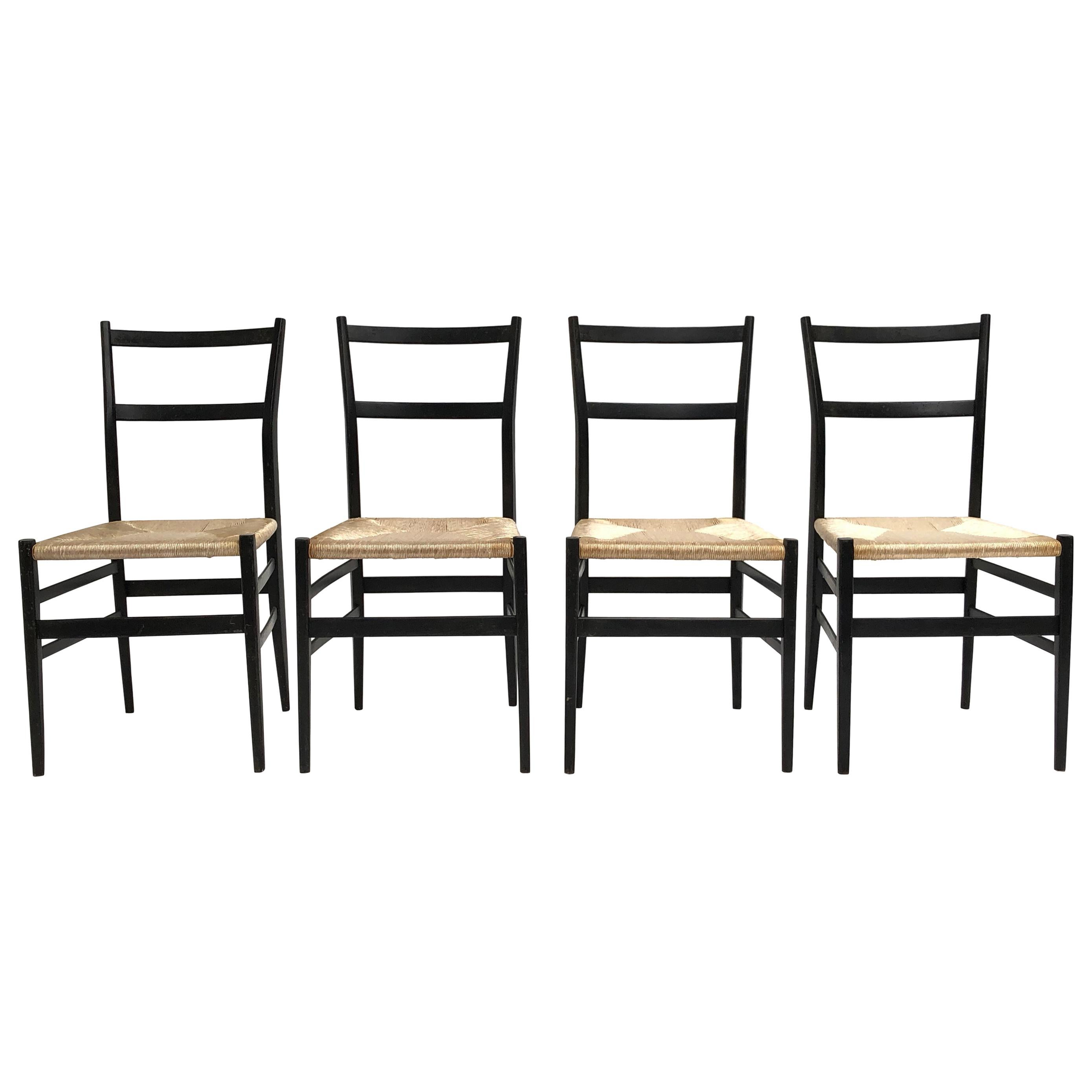 Set of 4 Leggera Black Ebonized Wooden Dining Chairs by Gio Ponti, Italy, 1950s