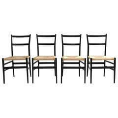 Set of 4 Leggera Black Ebonized Wooden Dining Chairs by Gio Ponti, Italy, 1950s