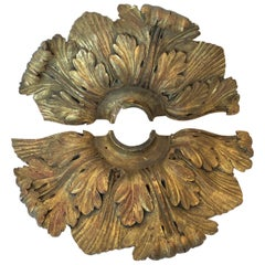 Pair of 18th Century Carved Wood Gold Leaf Fan