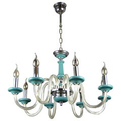 Blue Turquoise Murano Glass Chandelier, Italy, Mid-20th Century