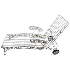 Outdoor Reclining Chaise with Metal Foliate Motif