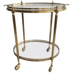 Vintage Italian Brass Oval Drinks Trolley or Bar Cart