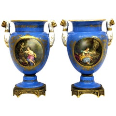 Pair of Late 19th Century Gilt Bronze and Sky Blue Sèvres Style Porcelain Vases