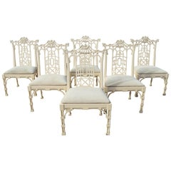 1980s Set of Six Spanish White Lacquer Oriental Chinoiserie Pagoda Dining Chairs