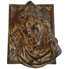 Wood Carved Jesus Christ Head Basrelief Italian Vintage Wall Decoration Panel