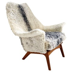 Adrian Pearsall for Craft Associates 1611 C Chair Restored in Gotland Sheepskin
