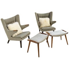 Important Pair of Hans Wegner for A.P. Stolen Papa Bear Chairs with Ottomans