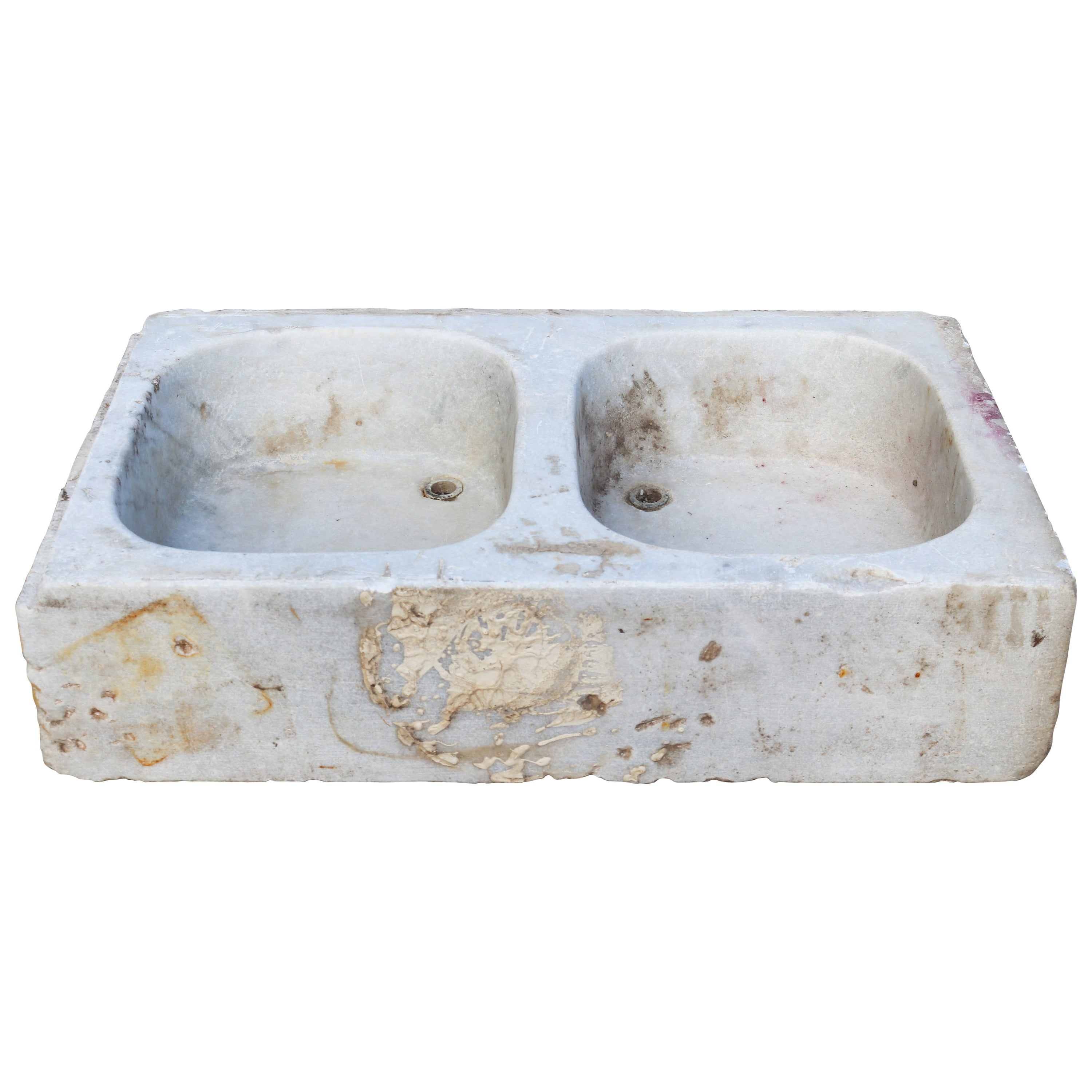 19th Century Antique Hand Carved White Marble Double Basin Kitchen Sink