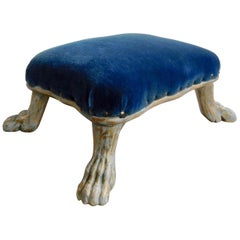 19th Century Swedish Gilt and Painted Lion Paw Footstool