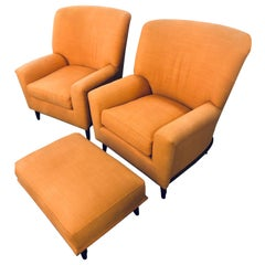 Pair of Art Deco Style A. Schneller & Sons Large Armchairs with Ottoman