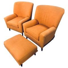 Paar Art-Déco-Stil A. Schneller & Söhne große Sessel mit Hocker