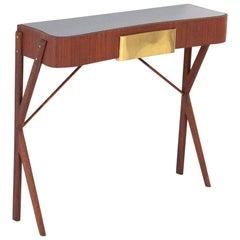 Italian Mid-Century Modern Mahogany, Glass and Brass Console Table