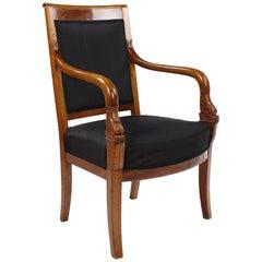 French Empire Armchair, Walnut, 1800-1810, Shellac Polish