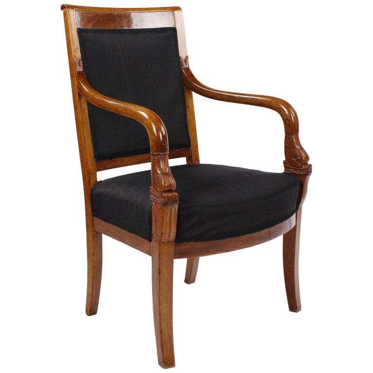 French Empire Armchair, Walnut, 1800-1810, Shellac Polish For Sale