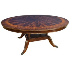Large Round 6 Ft. Mahogany Regency Style Dining Table by Leighton Hall