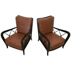 Italian Black Lacquered Lounge Chairs with Leather Cushioning