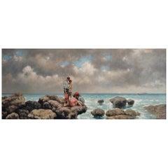 """Nicholas Butler's """"Pescatori di Telline"""" Oil on Canvas"""
