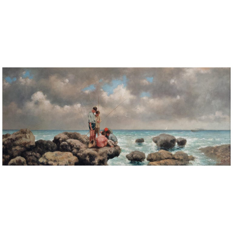 "Nicholas Butler's ""Pescatori di Telline"" Oil on Canvas For Sale"