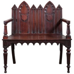 Early 19th Century Gothic Revival Hall Seat