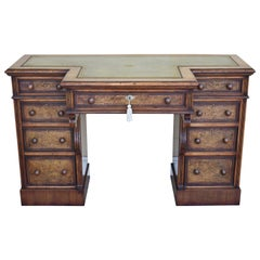 19th Century Victorian Burr Walnut Inlaid Pedestal Desk