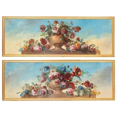 Pair of Oil on Canvas Figuring Flowers in Vases, circa 1900