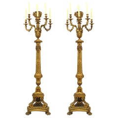Pair of French Louis XVI Style Bronze Floor Torchieres
