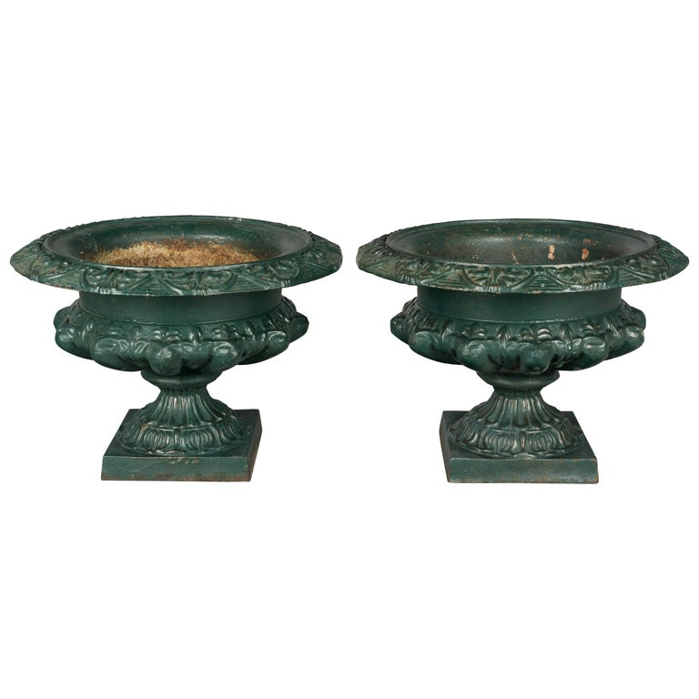 Pair of 19th Century French Cast Iron Urns For Sale