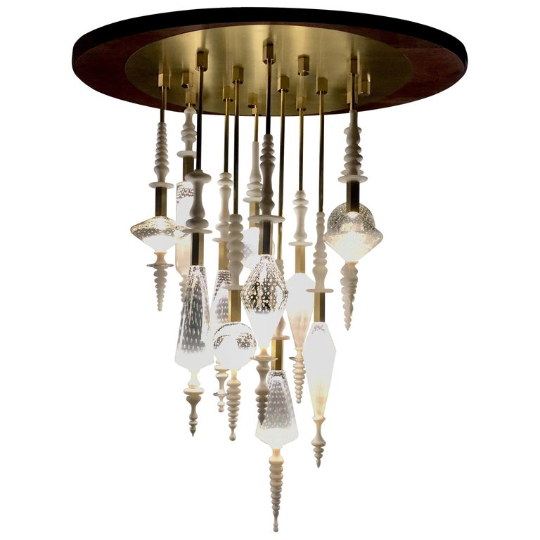 Seed Cloud Chandelier in Blown Glass by Andy Paiko For Sale