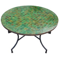 Round Moroccan Mosaic Table, Tamegroute Green