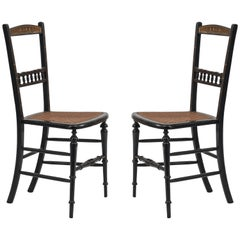 Pair of English Victorian Lacquered Side Chairs