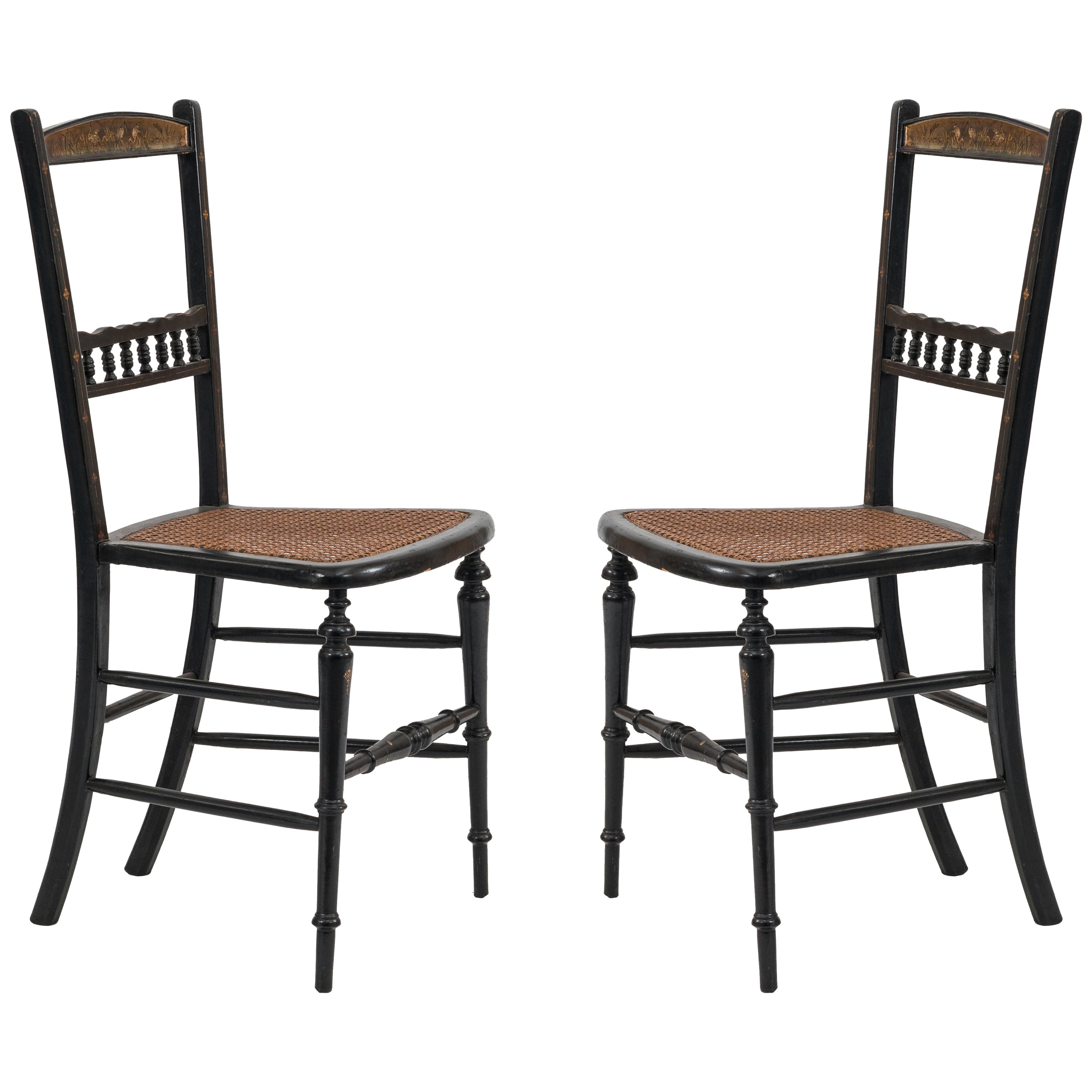Pair of English Victorian Papier Mâché and Pearl Inlaid Side Chairs