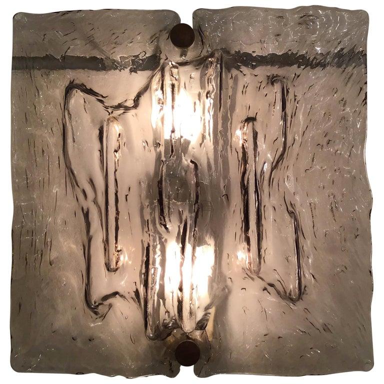 """Venini """"Mazzega"""" Sconces Murano Glass Brass Italian, 1958 For Sale"""