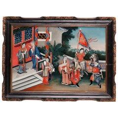 """Ravishing """"Court Scene"""" 'Chinese Reverse Painting on Glass'"""