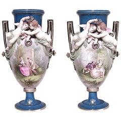 Pair of French Victorian Louis Phillipe Porcelain Vases