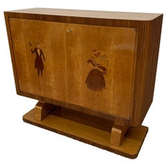 Italian Art Deco Maple Bar Cabinet, 1940s