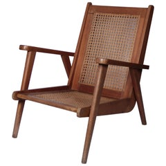 French 1950s Oak Lounge Chair
