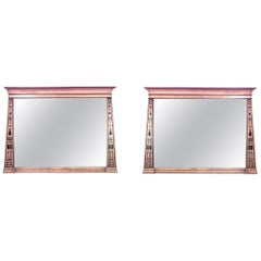 Pair of Egyptian Style Neoclassic Maple Inlay Wall Mirrors