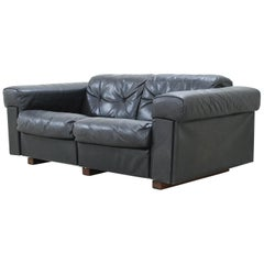 De Sede 2-Seat Sofa Black Leather Sofa, 1970
