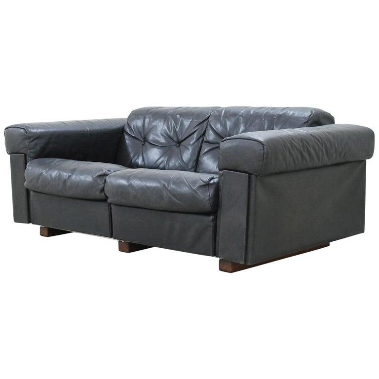 De Sede 2-Seat Sofa Black Leather Sofa, 1970