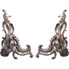 Pair of French Louis XV Style Scroll Design Andirons