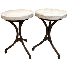 Pair of Spanish Revival White Carrara Marble with Iron Bases