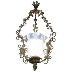 Italian 20th Century Painted Wrought Iron Chandelier Italian Floral Liberty