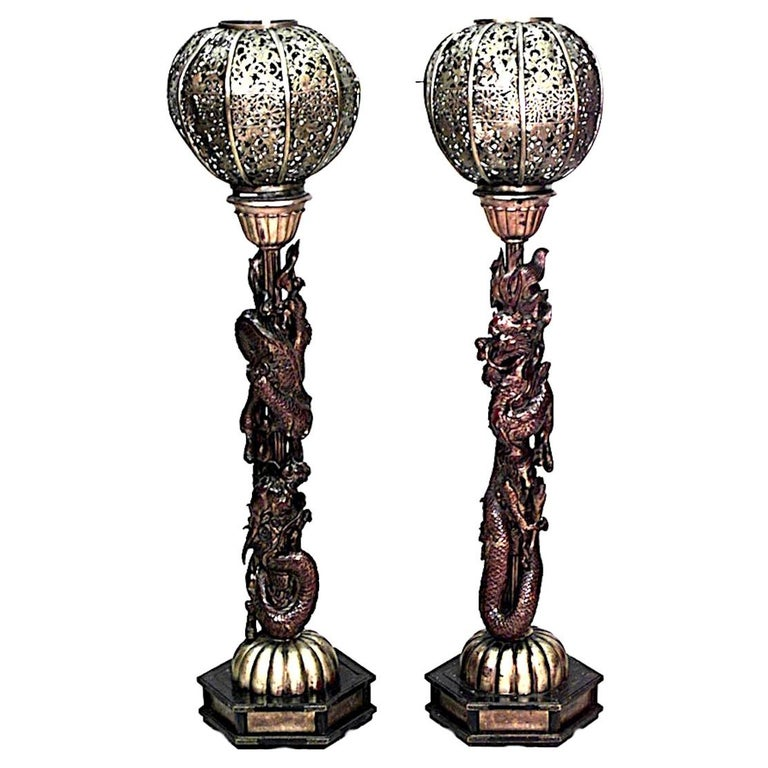 Pair of Asian Chinese Style Carved and Filigree Giltwood ...