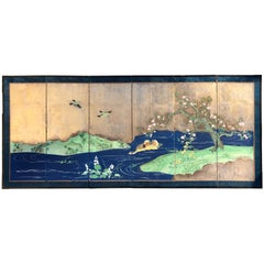 "Japanese Fine Antique Blue and Gold ""Ducks & Sakura"" Small Hand Painted Screen"
