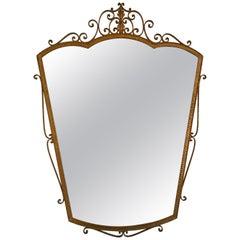 Mirror Wrought Iron Gold Leaf by Pier Luigi Colli, Italy, 1950s