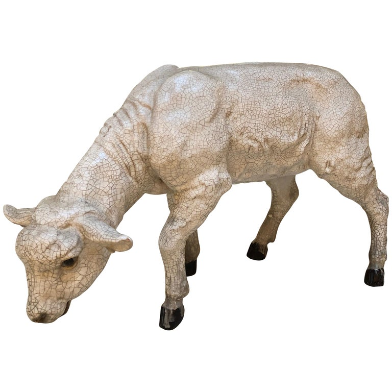 Materials Distressed And Glazed: Glazed Pottery Sheep Grazing For Sale At 1stdibs