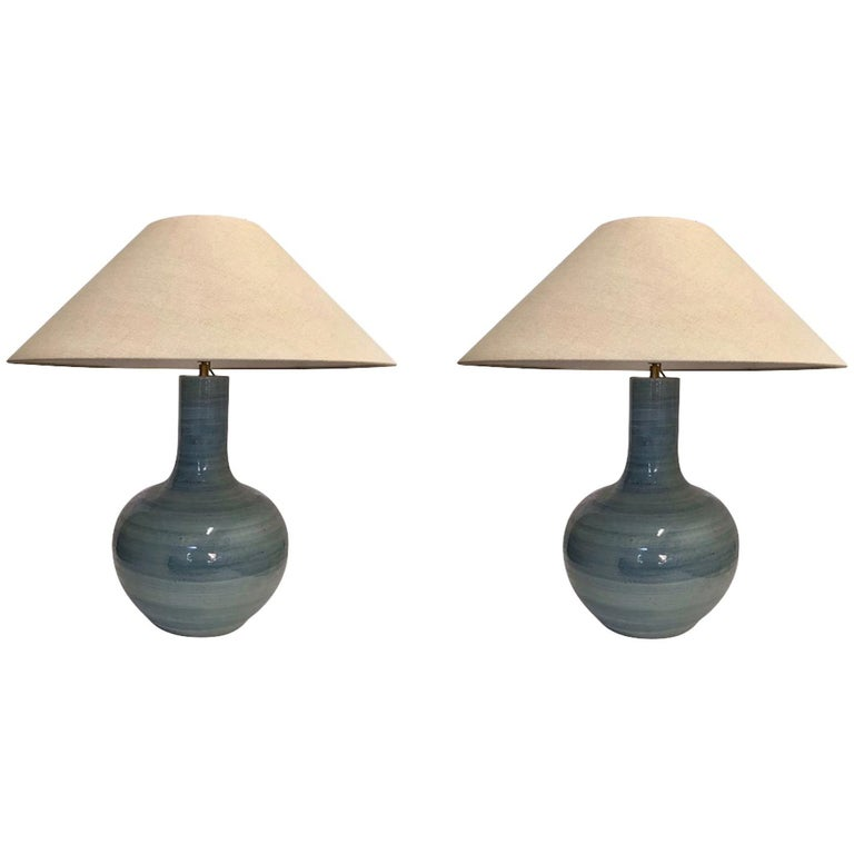 Pair of Large Blue Lamps, China, Contemporary