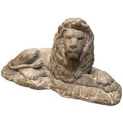 English Reclining Stone Lion Statue