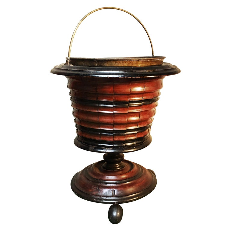 Dutch Walnut Coal Bucket with Brass Liner For Sale